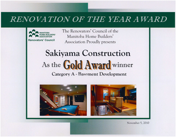Gold Award Winner – Basement Development