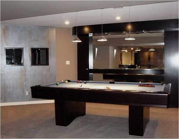 Renovated Games Area in a 1980s Modern Home - Renovated by Winnipeg's Sakiyama Construction